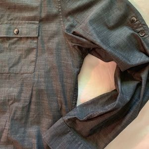 men's calvin klein dark gray button up shirt